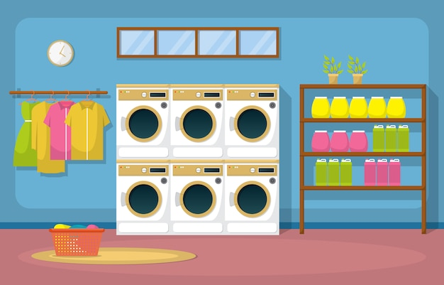 コインランドリー服洗濯機ランドリーツールモダンなインテリア