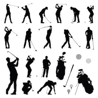 ゴルファーのプレー - シルエットを演奏するゴルフプレーヤー