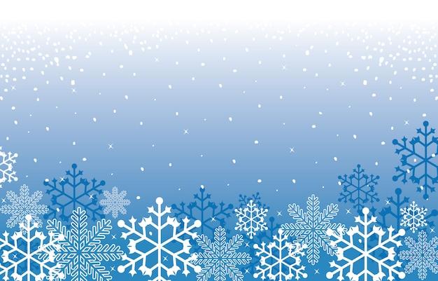 冬の雪のスノーフレークイラストテクスチャカードの背景