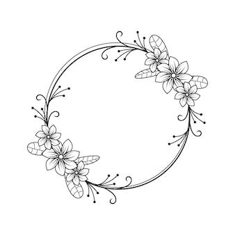 Женский цветочный флорист свадебная линия круг рамка орнамент