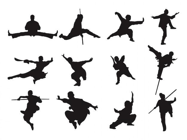 カンフー戦士の剣棒スタイルシルエットアジアの格闘技