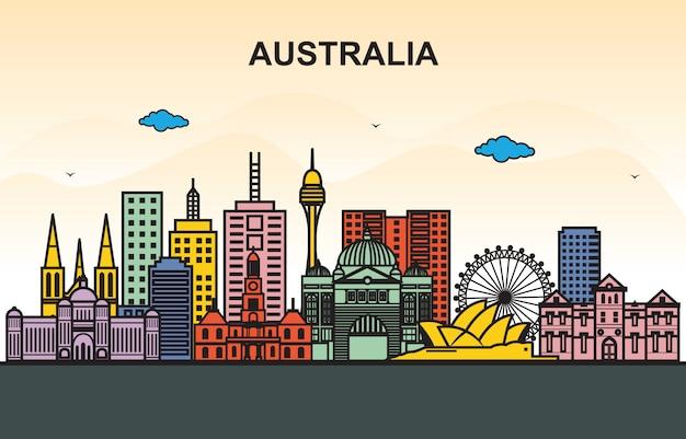 オーストラリアの都市都市の景観スカイラインツアーイラスト