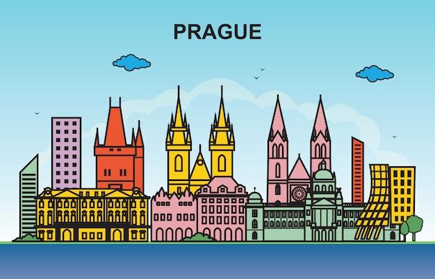 プラハ市内観光都市景観スカイラインカラフルなイラスト