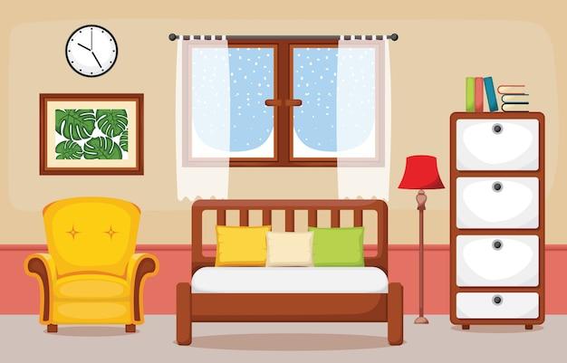 寝室のインテリア寝室フラットデザインイラスト