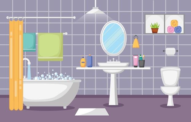バスルームのインテリア清潔でモダンなルーム家具フラットデザイン