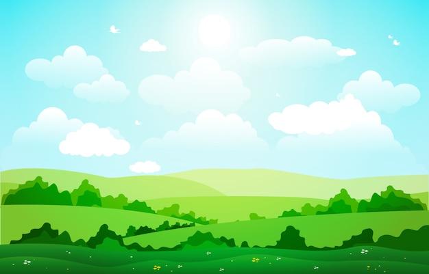 Горы холмы зеленая трава природа пейзаж небо