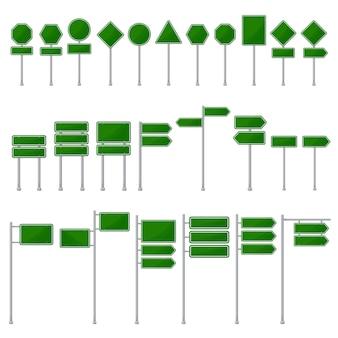 グリーン道路標識の空白のアイコンテンプレート