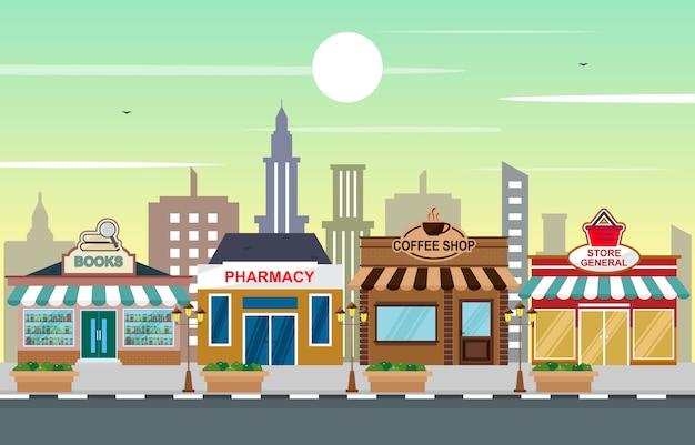 木の空と都市の町の店の風景