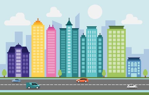 都市都市の景観スカイラインランドマークビル交通街
