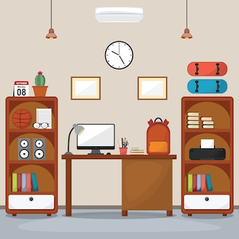 Студент дети рабочий стол стол интерьер комнаты мебель плоский дизайн