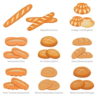 Багетный буханка и знаменитый уникальный хлеб из множества стран