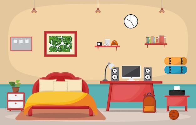 学生勉強机テーブル寝室インテリア部屋の家具