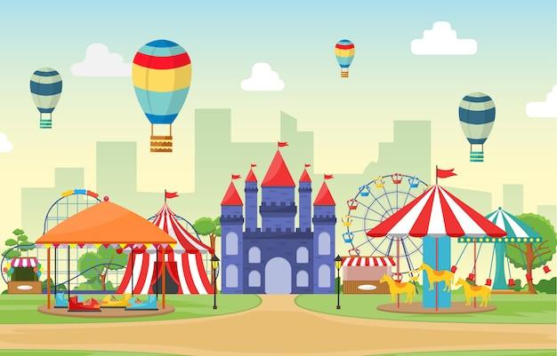 遊園地サーカスカーニバルフェスティバル楽しいフェア風景イラスト