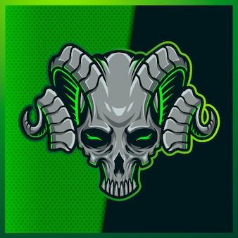 笑顔、ホーン、バンダナ、緑の背景に輝きと不気味な頭の頭蓋骨のイラスト。マスコットスポーツロゴの手描きイラスト