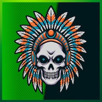 笑顔、ホーン、バンダナ、緑の背景に毛皮を持つ素晴らしいインディアンヘッドスカルのイラスト。マスコットスポーツロゴの手描きイラスト
