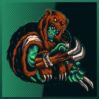緑の背景に爪、牙、マントルベアとオークの戦士のイラスト。モダンなイラストのマスコットのロゴデザイン。