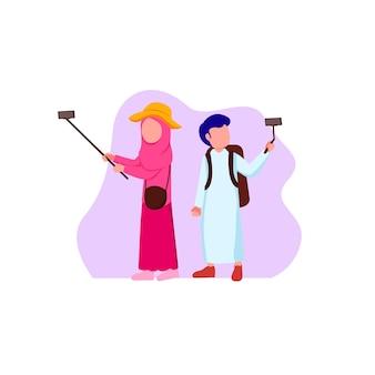 イスラム教徒とイスラム教徒の若い旅行者