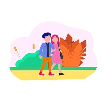 Иллюстрация две молодые пары свидание