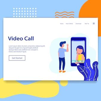 ビデオ通話のランディングページチャットアプリのイラスト