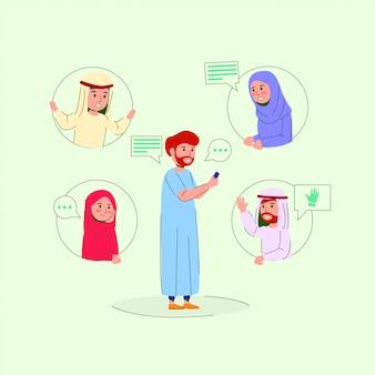 Иллюстрация арабский подросток в групповом чате с круглыми отверстиями