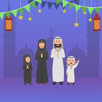 アラビアのイスラム家族のラマダンを祝福、ベクトル漫画イラスト