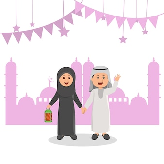 かわいいアラビアイスラム教徒の子供たちのイラストラマダン挨拶漫画