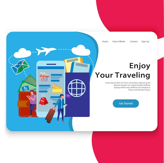 旅行サイトのイラストランディングページ