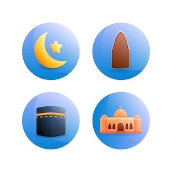 丸みを帯びたイスラムアイコンイラスト