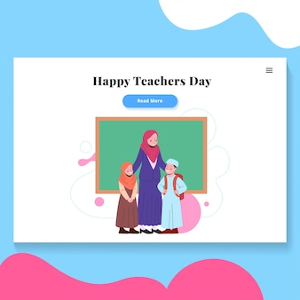 幸せな教師の日イラストランディングページテンプレート