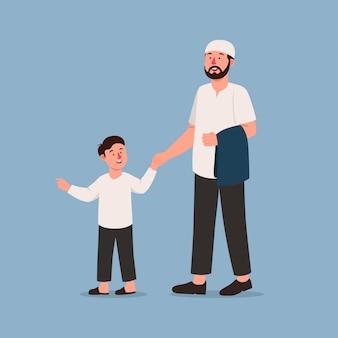 Отец и сын мусульманин ходят вместе