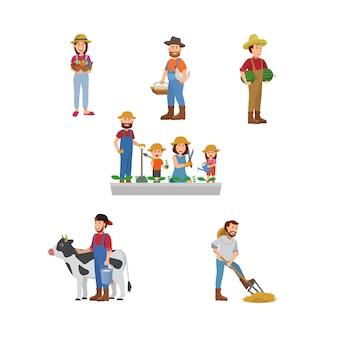 農民のセットイラスト