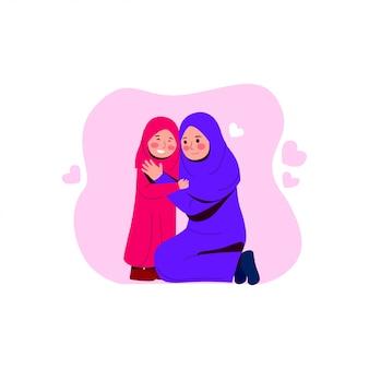 幸せなアラビア母は娘を抱擁します。
