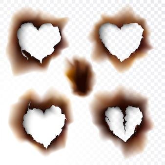Обожженная дыра выжженная бумага фигуры любовь значок символ векторная иллюстрация