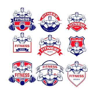 Набор фитнес логотип