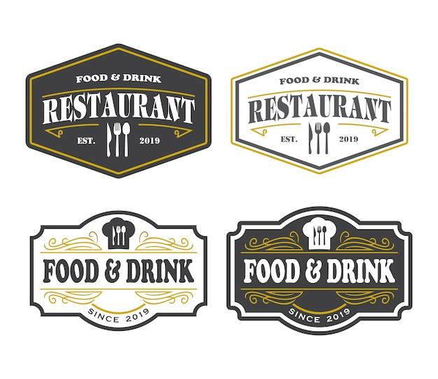 Логотип ресторана, элегантный логотип еда и напитки
