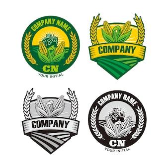 農場のロゴ、トウモロコシと小麦の農場のロゴ