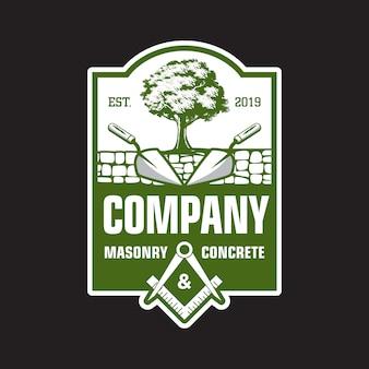 Бетон и кирпичный логотип