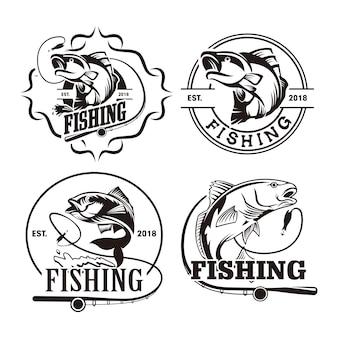 Набор шаблонов логотипа для рыбалки