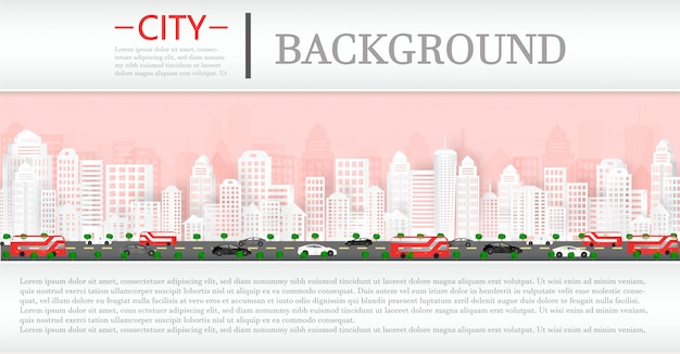Вектор бумаги вырезать и городской пейзаж с зданий и домов и фон журнала.