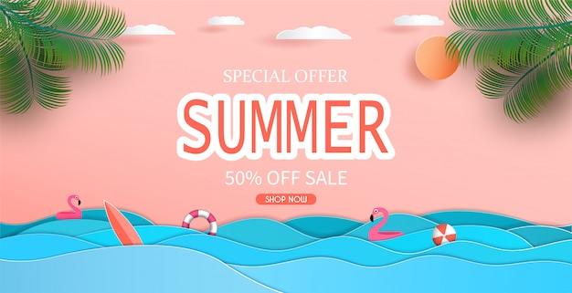 Вид на море и летняя распродажа баннер дизайн с бумаги вырезать.