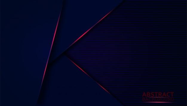 青いオーバーレイレイヤーと暗いの抽象的な背景。輝きの赤い光の装飾とモダンな形。