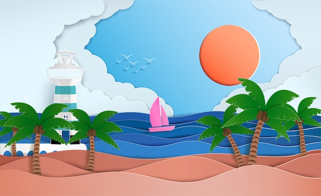 夏の広大な海の景色