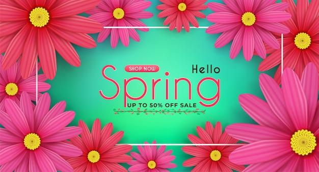 Цветки маргаритки цветут в сезонной весне. и для покупок распродажа со скидкой. и с сезонными предложениями.