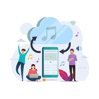 クラウド接続スマートフォンのストリーミング音楽