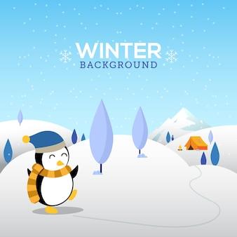 Зимний фон с симпатичным пингвином