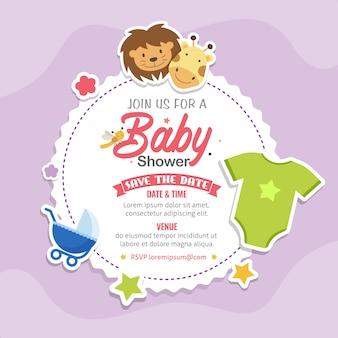 かわいい動物ベビーシャワーのテーマの招待状