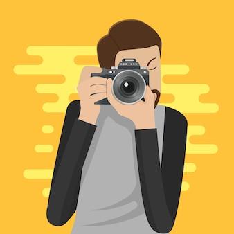 写真家のキャラクターが写真を撮る