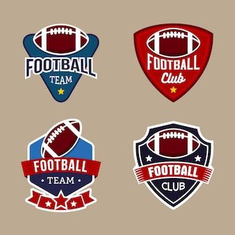 フットボールチームバッジロゴデザインテンプレートのセット
