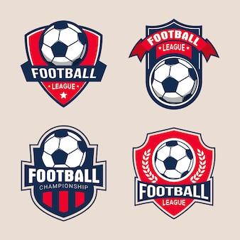 サッカーサッカー大会のバッジのロゴのテンプレートのセット
