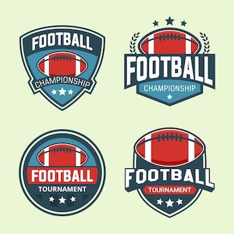 フットボールトーナメントバッジロゴデザインテンプレートのセット